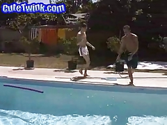 Youthful Guys Poolside Suck Off