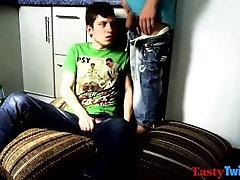 Skinny twink Maxim slams his bottom bitch Artem in bed