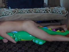 Big inflatable alligator humping cum