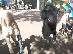 Best of Naked in public with slow motion dick swinging and cumshot