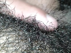 Sexy open legs and hairy  xxx large dick