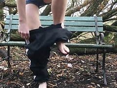 Ginger uncut cock naked wank on a public park bench with big cumshot