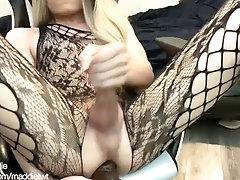 Femboy finds her fav dildo and fucks herself till she cums!