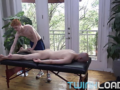Hung ginger Twink, Connor Taylor fucks DILF during massage