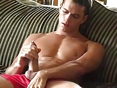 Preston Parker cum like fountain on sofa
