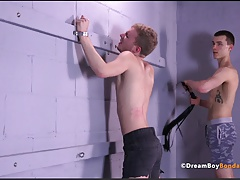 Bound Twink Back and Ass Whipping Flogger Gay Bondage BDSM