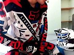 Blond Teen boy jerk off in Fox MX gear in cum on helmet